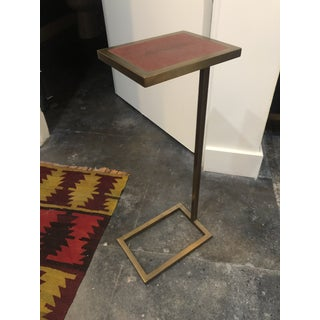1990s Traditional Theodore Alexander Brass and Leather Cocktail Side Table Preview