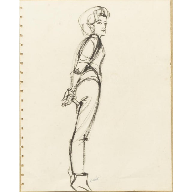 Framed ink sketches on paper, Female Studies, Ralph Ernest White Jr. (Texas, Minnesota, 1921-2004). One ink sketch is...
