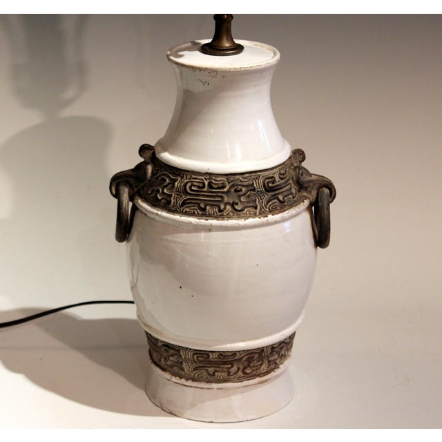 "Great Zaccagnini pottery Ming style lamp, circa 1960's. Approx. 23"" high overall, 12"" to top of pottery, 6 1/2"" diameter...."