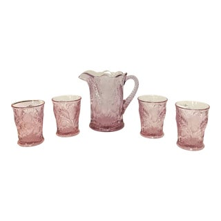 Antique 1890s Lilac Colored Scottish Thistle Patterned Glass Set With Pitcher - Set of 5 For Sale
