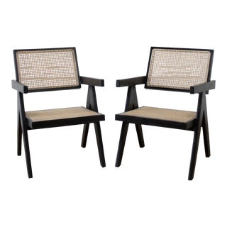 Modern Jeanneret Style Ebony Finish Accent Chairs- A Pair