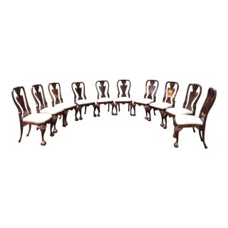 Early 20th Century Vintage Queen Anne Burl Walnut Dining Chairs - Set of 10 For Sale