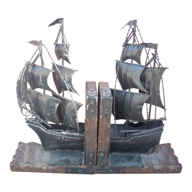 Metal Sailing Ship Bookends - A Pair - Image 1 of 4