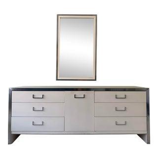 1970s Mid-Century Modern White Lacquered and Chrome Dresser For Sale