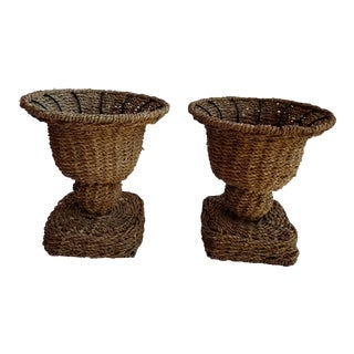 Seagrass Wicker Urn Shaped Cachepot - a Pair For Sale