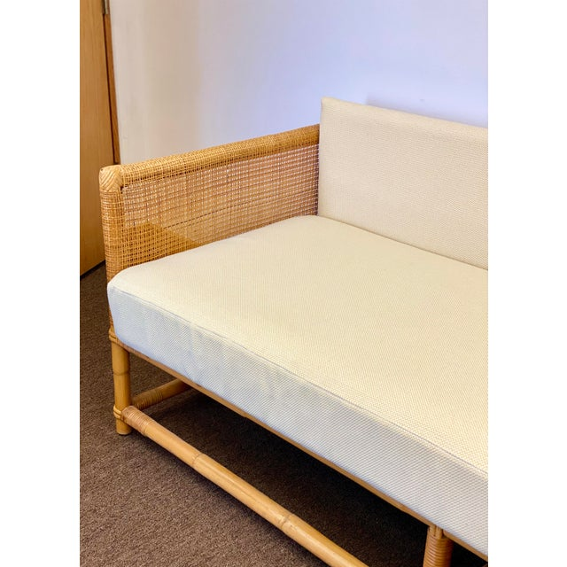 1960s Bamboo and Rattan Reupholstered Daybed For Sale In Detroit - Image 6 of 12