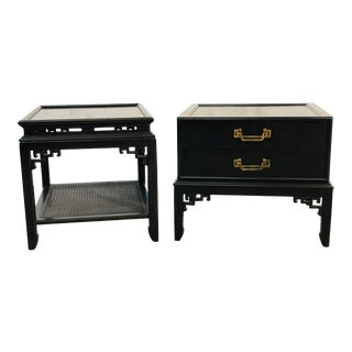 Vintage Hekman Furniture Asian Modern Side Tables, Pair For Sale