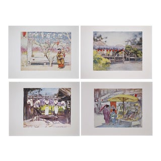 1901 Menpes Lithographs of Japan Prints - Set of 4