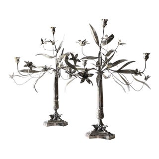 Tole & Silver Floral Candlesticks For Sale