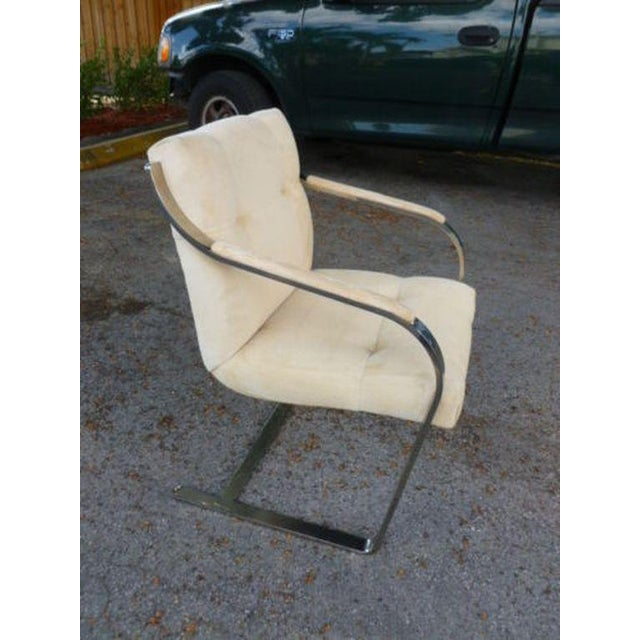 1970s 1970's Mid-Century Modern Brueton Heavy Thick Chromed Steel Arm Chairs - Set of 4 For Sale - Image 5 of 11