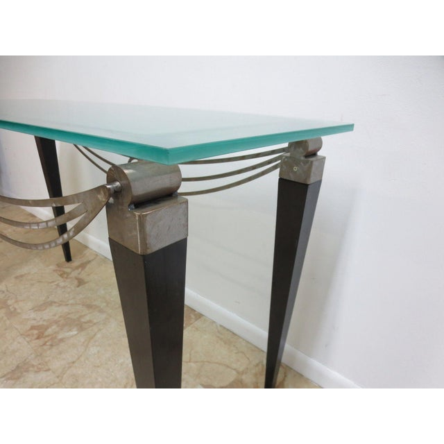 Neo Classical Metal Draped Federal Sofa Hall Foyer Table Server Console For Sale - Image 10 of 11