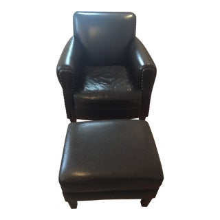 Cisco Brothers for Anthropologie Leather Club Chair and Ottoman For Sale