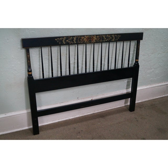 Hitchcock Black Painted Stenciled Full Size Headboard AGE/COUNTRY OF ORIGIN: Approx 35 years, America DETAILS/DESCRIPTION:...