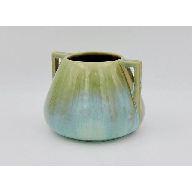 Vintage Fulper Pottery Arts & Crafts Double Handled Vase With Flambé Glaze For Sale - Image 4 of 11