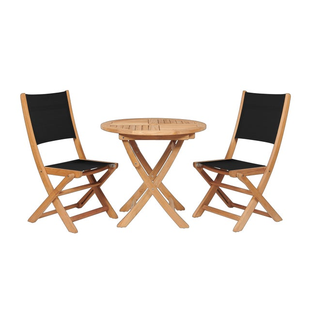 Wood Stella 3-Piece Teak Outdoor Round Folding Table and Chair Bistro Set in Black For Sale - Image 7 of 7