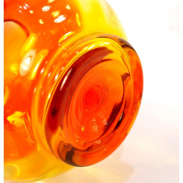 Mid-Century Modern Mid-Century Blenko Tangerine Art Glass Vase For Sale - Image 3 of 4