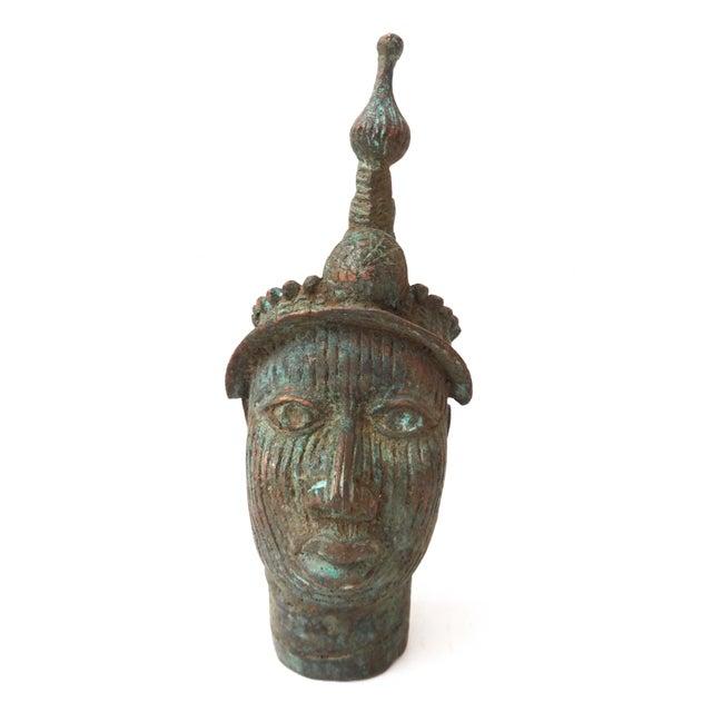 Benin Bronze Brass Head of Oba Nigeria African - Image 7 of 7