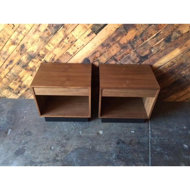 Custom Mid-Century Style Walnut Nightstands - A Pair - Image 3 of 7