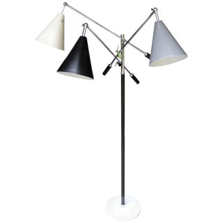 Italian Triennale Three-Arm Chrome Leather and Marble Floor Lamp For Sale