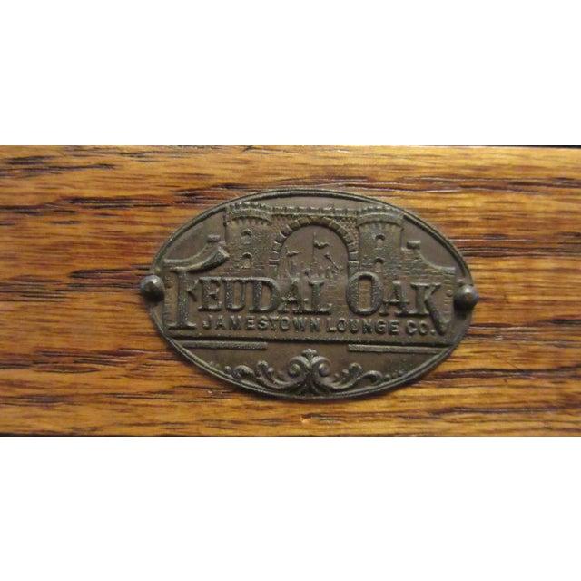 Jamestown Lounge Co. Vintage Mid Century Jamestown Lounge Co. Feudal Oak Desk Set- 3 Pieces For Sale - Image 4 of 13