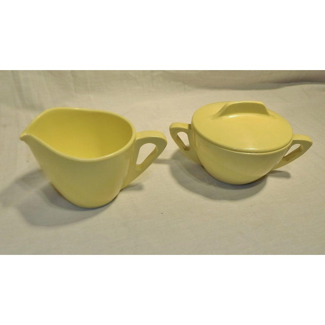Retro Pale Yellow Melmac Prolon Ware Creamer and Sugar with Lid, Florence, Mass. #9935, 9936 & 9937. Nice condition.