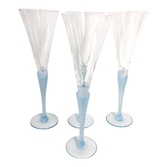 Light Blue Frosted & Crystal Champagne Glasses - Set of 4 For Sale
