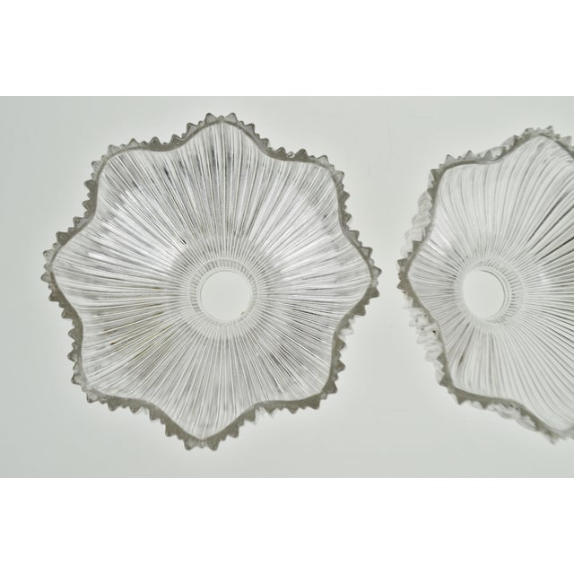 Early 20th Century Art Nouveau 1905 Franklin Ribbed Glass Light Shades - a Pair For Sale - Image 5 of 12