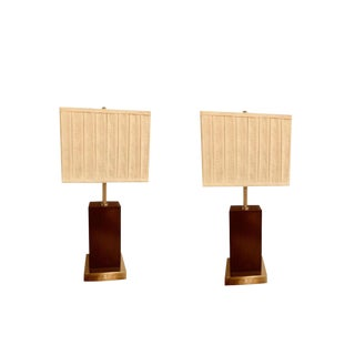 Pair of Mid-Century Modern Chrome and Wood Base Table Lamps With Matching Shade For Sale