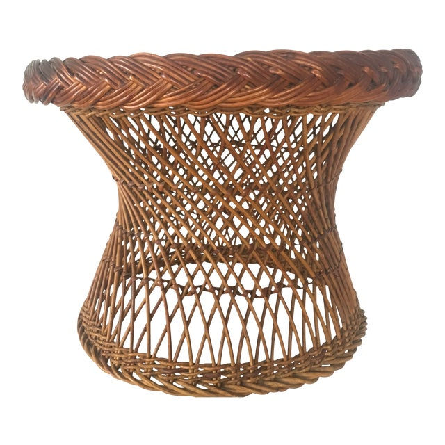 Vintage Bielecky Brothers Boho Rattan Round Coffee / Side Table For Sale