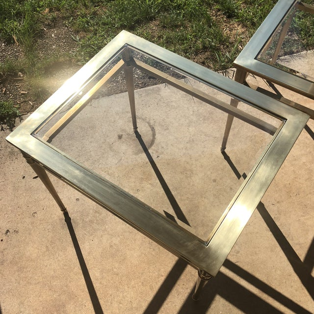 Gold Glass Top Brass End Tables - a Pair For Sale - Image 8 of 13
