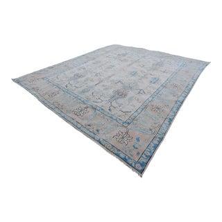 Vintage Distressed Large Oushak Carpet - 9′8″ × 11′11″ For Sale