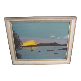 Sunset & Sail Boats Oil on Board