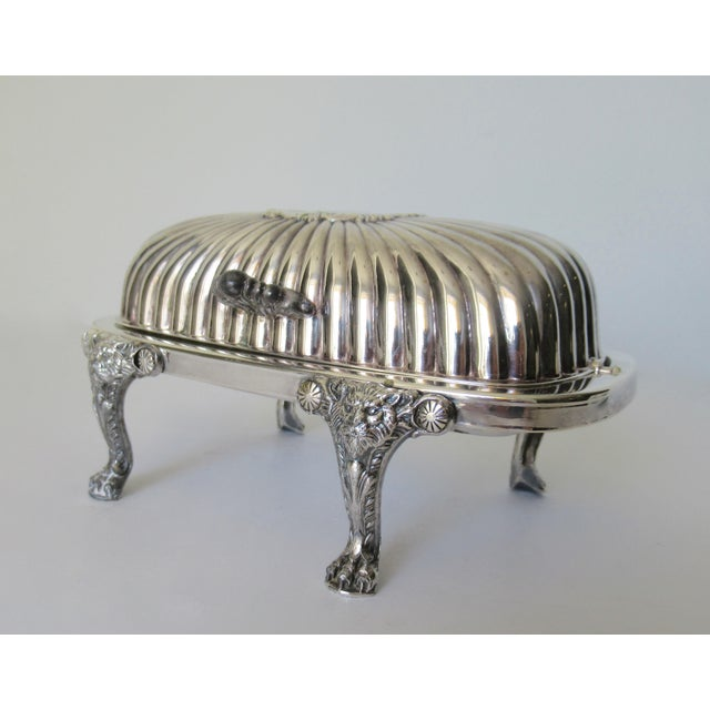 Georgian Wm. Rogers Silver Plate Platform Claw Footed Domed Butter Dish -2 Pieces For Sale - Image 3 of 13