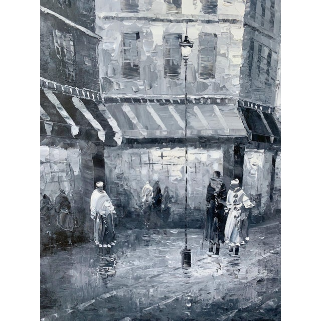 1960s Vintage Grayscale l'Arc d'Triomphe Painting For Sale - Image 4 of 7