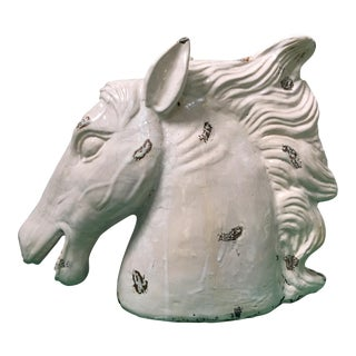 Large Hollywood Regency Ceramic Horse Head Sculpture For Sale