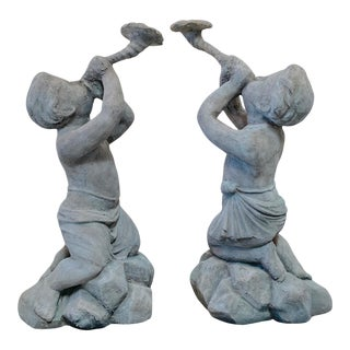 18th Century Restored Cherub Garden Statues-A Pair For Sale