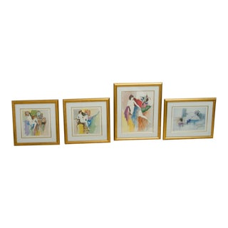 1980s Figurative Framed Lithographs by Itzchak Tarkay - Set of 4 For Sale