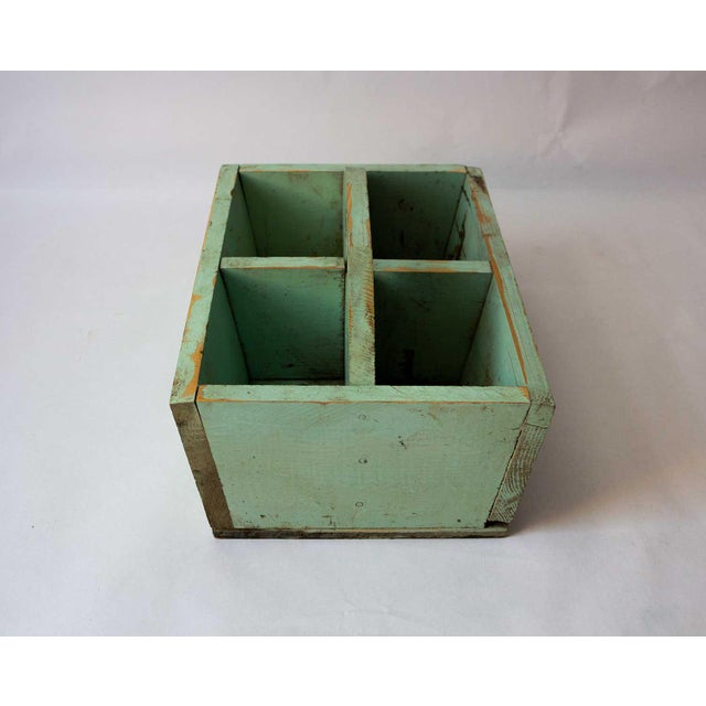 Wood 1940s Shabby Chic Mint Green Berry Basket For Sale - Image 7 of 8