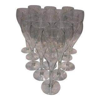 Vintage Crystal Tulip Champagne Glasses - Set of 16 For Sale