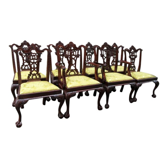Set of Eight 20th Century English Chinese Chippendale Mahogany Dining Chairs For Sale