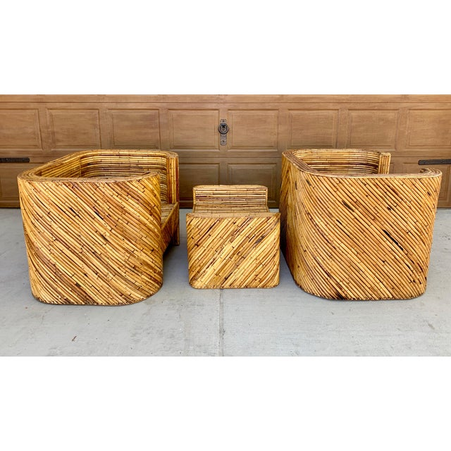 Stacked Bamboo Club Chairs and Ottoman in the Manor of Gabriella Crespi - Set of 3 For Sale In Phoenix - Image 6 of 10