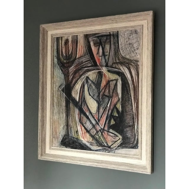 Abstract 1950s Cubist Abstract Male Portrait Painting For Sale - Image 3 of 8