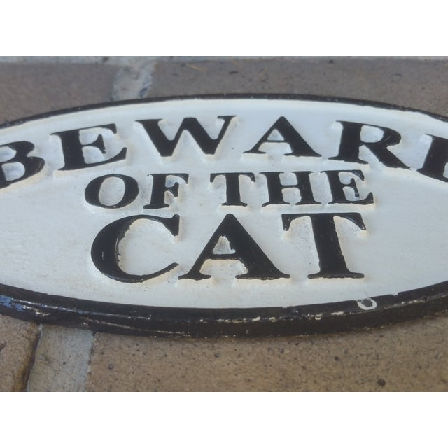 White & Black Cast Iron 'Beware of Cat' Sign - Image 3 of 3