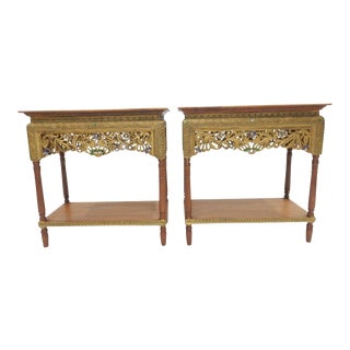 Thai Teakwood Gilt Finish, With Stones Two Tier Side Tables - a Pair