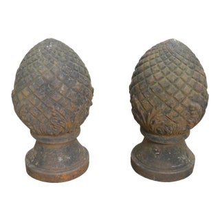 Vintage Pair of Cast Iron Pineapple Garden Finials For Sale