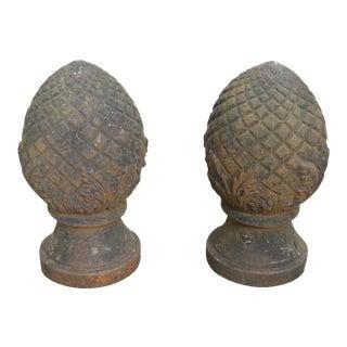 Vintage Pair of Cast Iron Pineapple Garden Finials