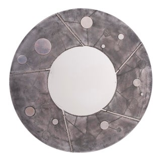 Mid-Century Round Steel Mirror With Incised Design For Sale