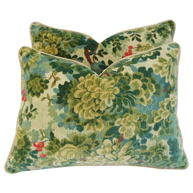 Designer Scalamandre Velvet Marly Pillows - Pair - Image 1 of 11