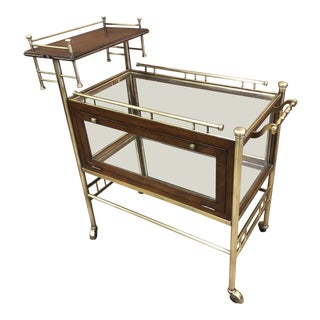 French Two-Tier Brass and Walnut Bar Cart 1950s For Sale