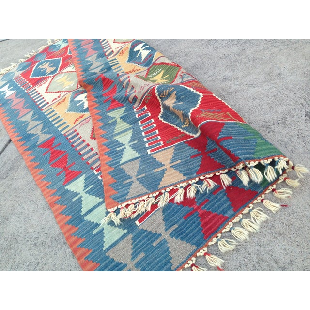 "Turkish Handwoven Wool Kilim Rug - 4'2"" X 5'11"" For Sale - Image 5 of 10"